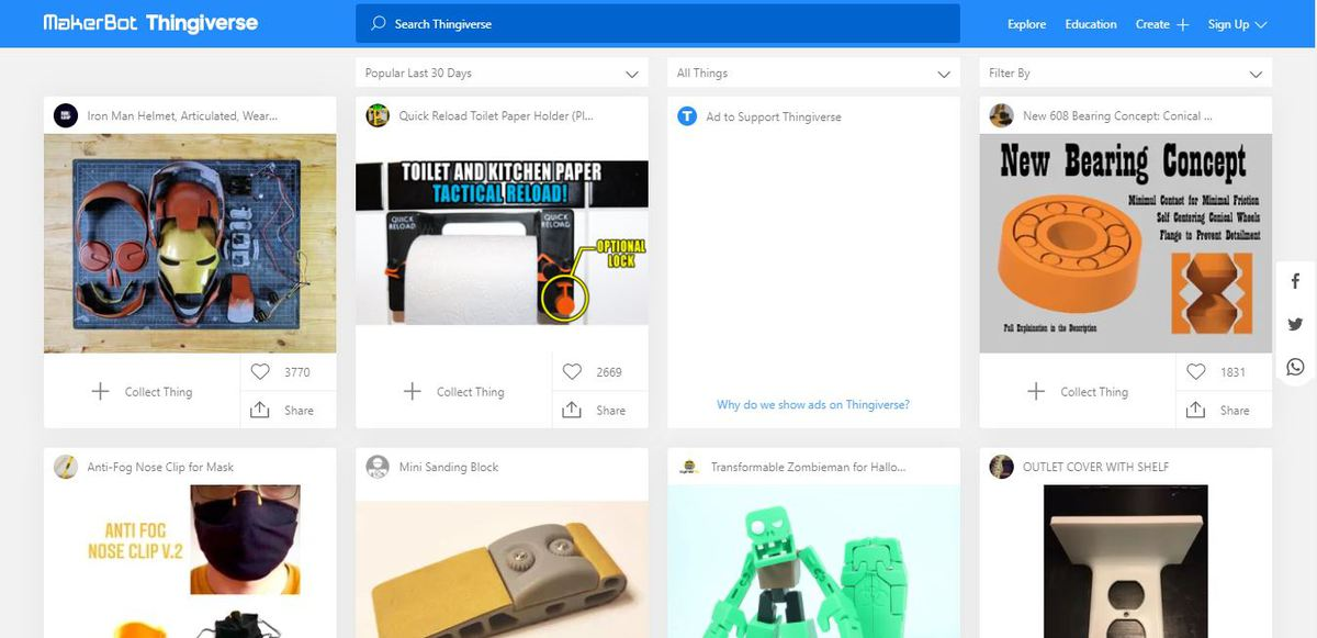 Interface do site Thingiverse